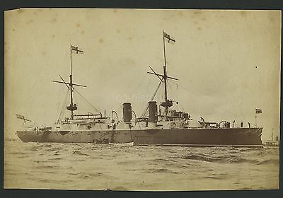 Large Photo Of Royal Navy Warship c1880s By West Of Southsea