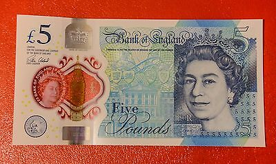 8 x £5 Five Pound Note consecutive serial numbers