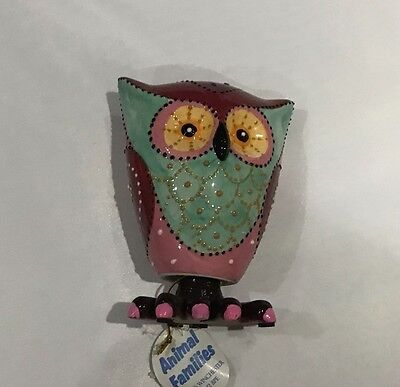 Wobbling Ceramic Owl, Mexican Style Paint, bold colours
