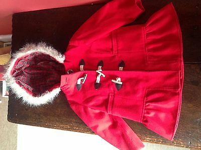 Girls Next Red Duffle Coat 18 Months 2 Years