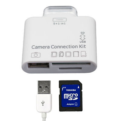 5 in 1 USB Camera Connection Kit SD TF Card Reader Adapter For Apple Ipad 2,3