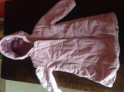 Jojo Maman Bebe Pink Corduroy Girls Coat 6-12 Months Hooded