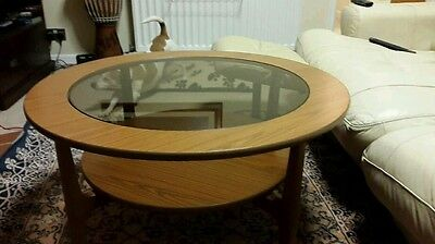 Circular Retro Schreiber Two Tier Coffee Table with Glass Insert