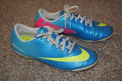 Nike Youth UK Size 1 Football Boots Mercurial Blue Yellow VGC