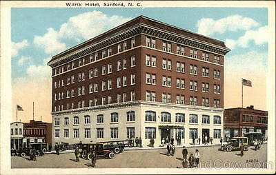 Sanford NC Wilrik Hotel Ashville Lee County North Carolina White Border Postcard