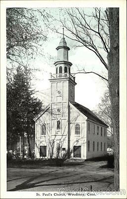 Woodbury CT St. Paul's Church Connecticut Woodbury Drug Co. White Border PC