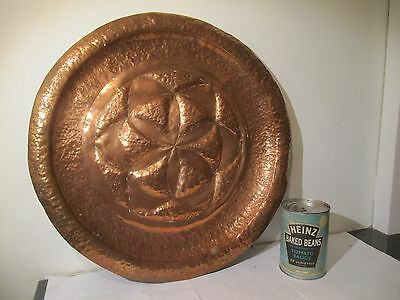 Arts & Crafts Style Beaten Copper Charger Plaque