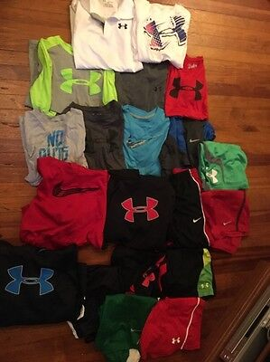 Lot Of 18 Under Armour Nike Boys Large And Extra Large Hoodies Shirts Pants