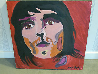 Vintage Original Signed Psychedelic Painting of Ian Brown of The Stone Roses