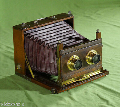 EXTREMELY RARE GAUMONT TROPICAL STEREO CHAMBRE FOLDING MAHOGANY BRASS c. 1890