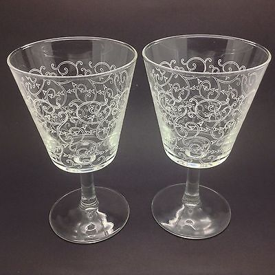 Vintage Retro French Wine Glasses X 2 Pair Of Glass Rummers Transfer Printed