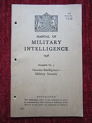 1946 WW2 Manual Of Military Intelligence Counter Intelligence No.3 Rare FC72