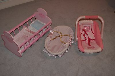 Bundle of ELC Pink wooden bed - car seat - moses basket for baby Annabell - USED