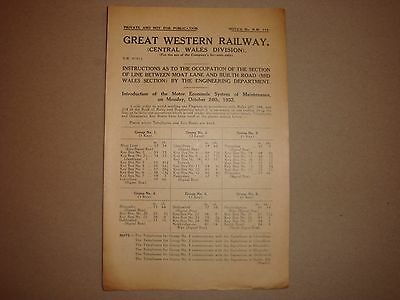 Great Western Railway Notice No NW 118 Builth Road,Moat Lane,
