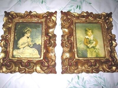 Antique Gold Tole Painted Carved Composite Italian Florentine Boy Girl Pictures
