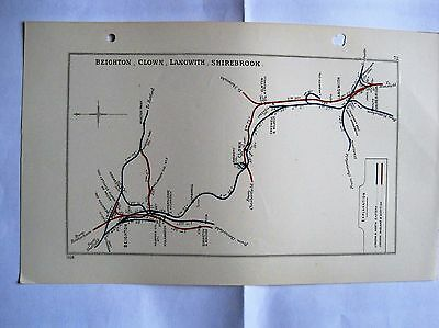 1928 RAILWAY CLEARING HOUSE Junction Diagram No.72 SHIREBROOK/BEIGHTON/LANGWITH