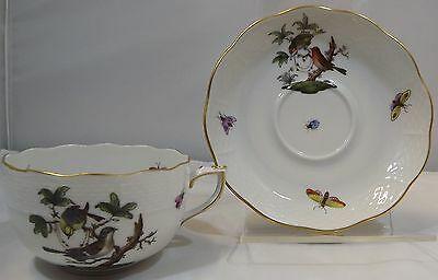 Vintage Herend Rothschild China Cup & Saucer Birds Insects Butterflies Hungary