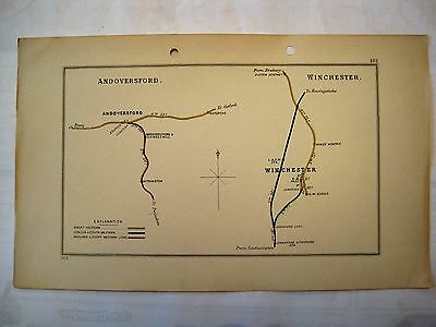 1913 RAILWAY CLEARING HOUSE Junction Diagrams.ANDOVERSFORD/WINCHESTER