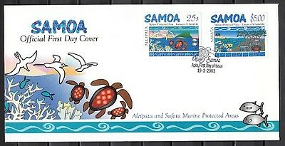 * Samoa, Scott cat. 1033-1034. Marine Protection Areas. First Day Cover.
