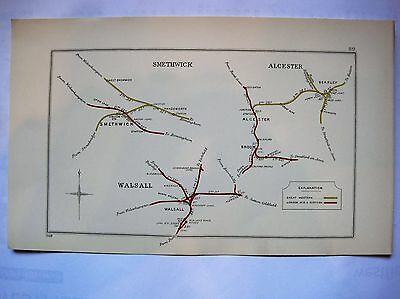 1928 RAILWAY CLEARING HOUSE Junction Diagrams.SMETHWICK/ALCESTER