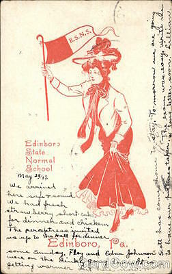 1907 Edinboro State Normal School College Girl with Flag Cunningham & Co. PC