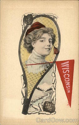 College Girl Wisconsin Pennant Divided Back Postcard
