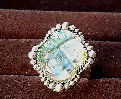 Stephen Dweck Sterling Silver Carved Stone Flower  Ring, Sz 5.5 - 22 g.