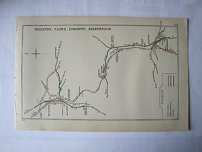 1910 RAILWAY CLEARING HOUSE Junction Diagrams.BEIGHTON,CLOWN,LANGWITH,SHIREBROOK