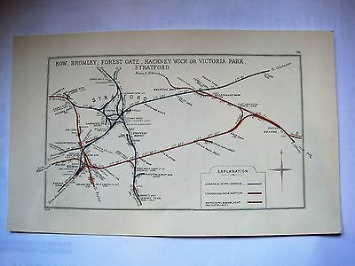 1928 RAILWAY CLEARING HOUSE Junction Diagram No.98 STRATFORD AREA.