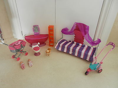 Barbie Bathroom Furniture Couch Twins Twin Babies Baby Pram Scooter Dog Walker