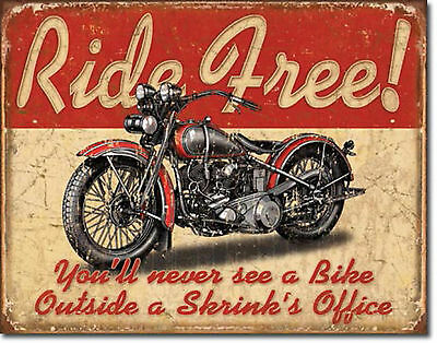 """""""Ride Free"""" Motorcycle, Retro, Metal, Tin Sign for the Man Cave or Garage"""