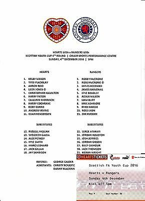 Hearts vs Rangers ~ Under 20s  ~ Scottish Youth Cup Ticket and Teamsheet