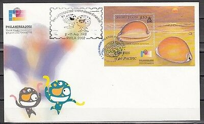 * Solomon Is., Scott cat. 944. Cowrie Shells s/sheet on a First Day Cover.