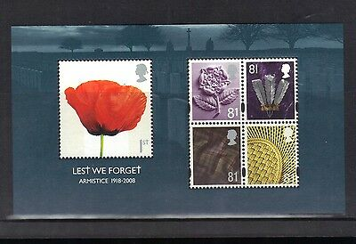 Great Britain. Less We Forget  Mini Sheet 2008 Mnh.
