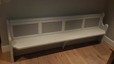 Solid wooden church pew - hand painted light grey