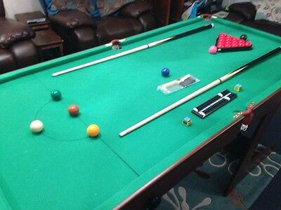 6FT Foldable Table Snooker Pool Table With Balls Accessories Green