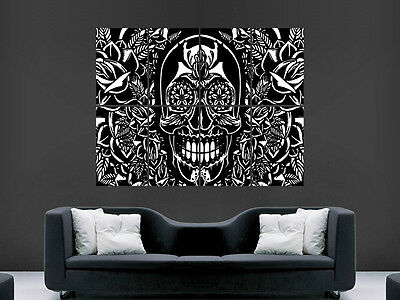 Skull Trippy Poster Print Abstract Wall Art Classic  Huge Image Huge Giant Large