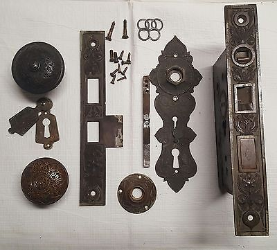 Antique Fancy Ornate Cast Bronze Mortise Lock Door Knob Set