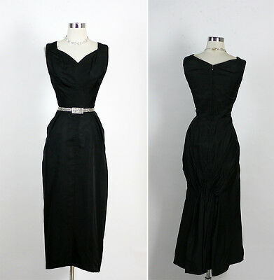 Vintage 50s Hourglass Black Silk Draped Train Pin Up Cocktail Party Dress M
