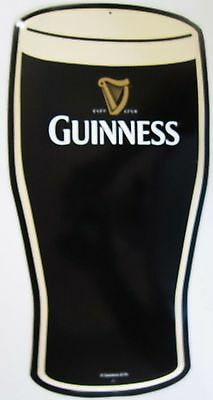 Guiness Pint Glass Cut Out Metal Sign
