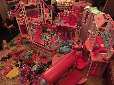 Enormous Barbie Bundle Including Houses, Cruise Ship, Plane, Cars And Dolls