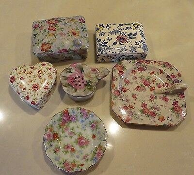 6 Pieces of Vintage Chintz Empire from England and Occupied Japan