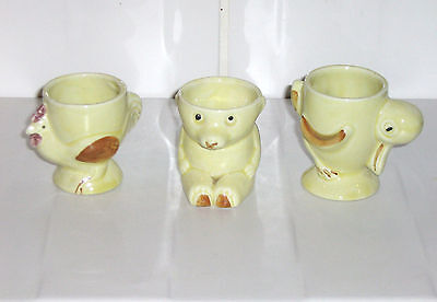 3 x Vintage Pale Yellow Egg Cups - Chicken, Duck & Teddy Bear