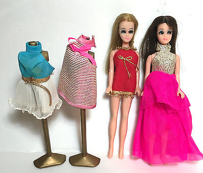 Pair Topper Dawn Dolls w 2 Dress forms & 4 dresses NICE CONDITION CLEAN