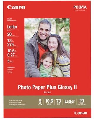 Canon Photo Paper Plus Glossy II 8.5x11 20 Sheets New - Free Ship!