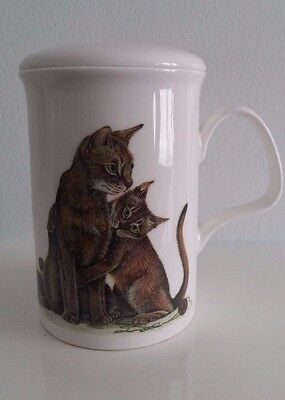 Fine Bone China Cat Lovers Mug With Lid By Roy Kirkham