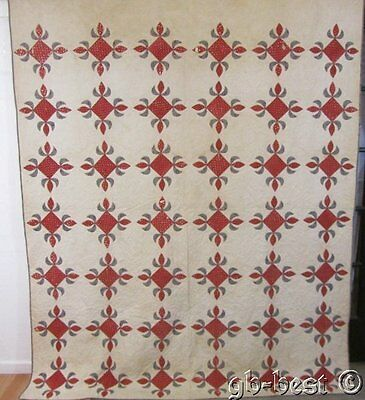 Early 1850s PA Turkey Red Album Antique QUILT Blues 96 x 78""