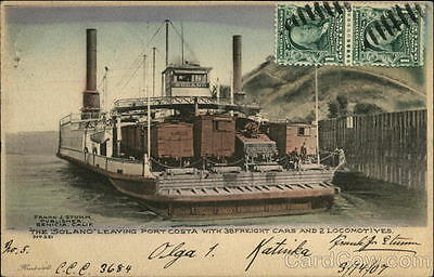 Ferry 1907 The Solano Leaving Port Costa with 38 Freight Cars and 2 Locomotives