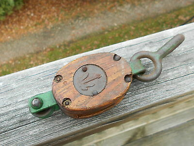 Vintage Nautical Wooden Pulley Block & Tackle Iron Hook