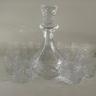 Bohemia Crystal Scotch Decanter And 12 Matching Glasses